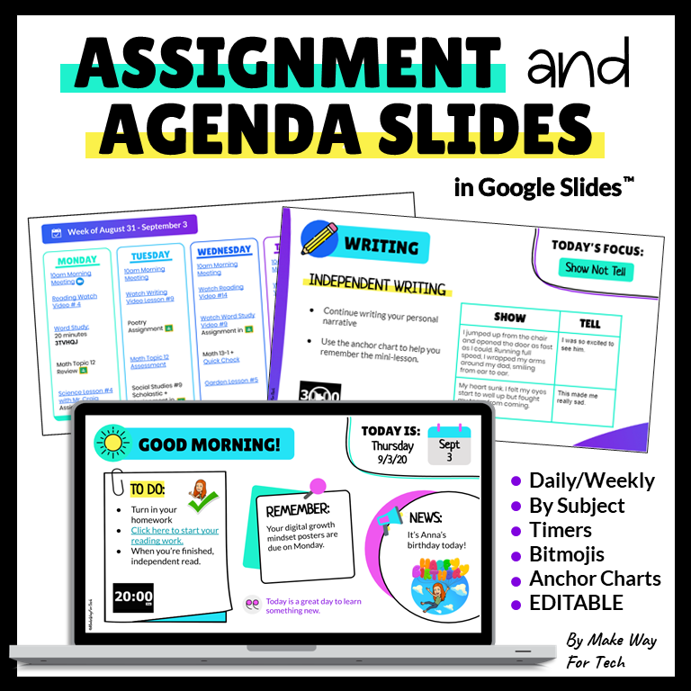 Assignment and Daily Agenda Slides in Google Slides